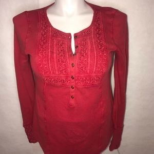 Lucky Brand long sleeve red top large